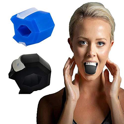 JWXF 2 Stücke Gesicht Fitness Kugel Für Frauen Männer Gesichtsbehandlung Toner Trainer Backen Ausübungs- Und Nacken Schrumpfen Doppelkinne Toning Muskel-Trainingsgerät (Color : Black+Blue)