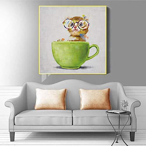xdai Cuadro en Lienzo Lindo Gato vivero Cuadro de Arte de Pared Gato en Taza de té Pintura impresión Animal Cartel nórdico Chico decoración de habitación de bebé-40x40cm sin Marco