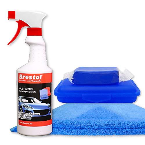 Brestol Reinigungsknete Set1 200 g Knete blau mittelstark + Box + 750 ml Spezial GLEITMITTEL + Poliertuch - Polierknete Lackknete Clay-Bar Auto-Lack-Knete - entfernt Baumharz Insekten u.v.m.