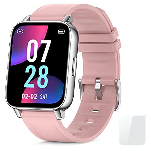 Reloj Inteligente Mujer 1.69''Smartwatch con Pulsómetro Podómetro Smartwatch Mujer Monitor de Sueño Impermeable Pulsera Actividad Inteligente para Android iOS (Rosado)