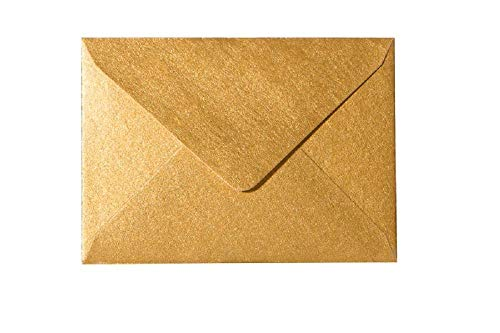 Briefumschläge in DIN B6 Format 12,5 x 17,6 cm Kuverts mit 120g/m² Nassklebung Plus Überraschungsgeschenk pro Bestellung 88 Gold 25 Stück