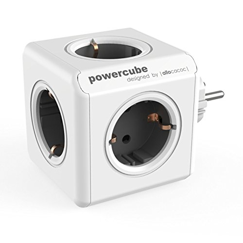 Allocacoc PowerCube Original Spina a 5 Prese, Argento/Bianco