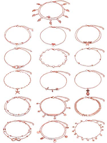 Hicarer 16 Pieces Boho Ankle Bracelets Beach Anklets Foot Chains Adjustable Foot Hand Jewelry for Women Girls (Rose Gold)