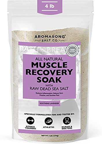 Aromasong Muscle Recovery Bath Soak 4 Lbs, Natrual Pain Relief & Joint Aches Soother, Raw Dead Sea Salt with Magnesium & Essential Oils, Dead Sea Muscle Soak Leaves Your Skin Softer Then Epsom Salt