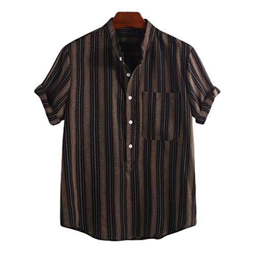 Camisa de Jersey de Solapa a Rayas para Hombre, Tendencia de Moda, Ropa de Calle, Camisas de Manga Corta Decorativas con Bolsillo Desgastado Retro M