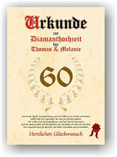 Urkunde zum 60. Hochzeitstag - Diamanthochzeit - Geschenkurkunde Diamant Hochzeit personalisiertes Geschenk Karte zum Ehrentag XXL DIN A4