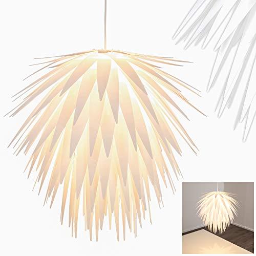 Pendelleuchte Grinder, moderne Hängelampe aus Kunststoff in Weiß, Ø 55 cm, max. Höhe 140 cm, E27 max. 60 Watt, geeignet für LED Leuchtmittel