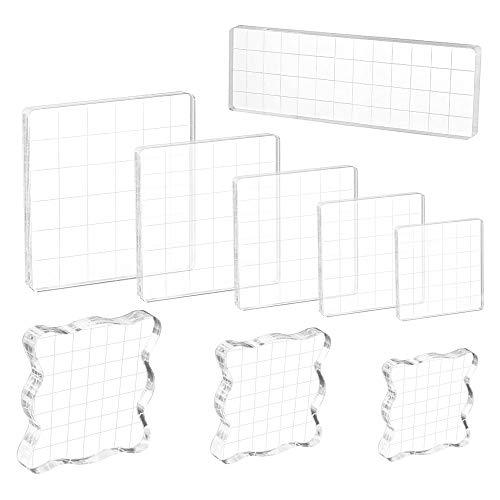 HO2NLE 9pcs Acryl Stempelblock Set Acrylblock Stempel Stanzblöcke Blocksatz Transparent Stempel Blöcke für Scrapbook Fotoalbum Hand Schnitzen Handwerk Scrapbooking