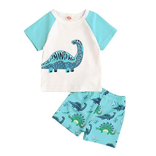 YWLINK Conjunto De Dinosaurios para NiñOs,Camiseta con Estampado De Dibujos Animados De Dinosaurio De Manga Corta para NiñOs Top + Conjunto De Pantalones Cortos Traje De Dos Piezas