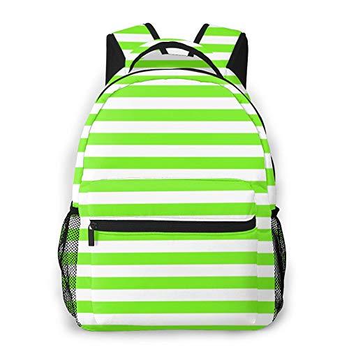 CVSANALA Multifuncional Casual Mochila,Que consta de diseño de líneas verdes horizontales,Paquete de Hombro Doble Bolsa de Deporte de Viaje Computadoras Portátiles