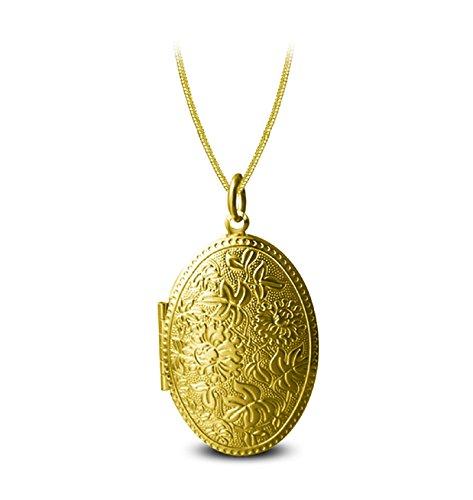 AmDxD Bilder Medaillon zum öffnen mit Kette Blume Oval Damen Herren Hlaksette mit Anhänger Gold