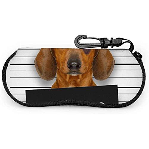 WCHAO Dackel-Wurst-Hund, der eine Polizeidienststelle-Brillenetui-Fall-Sonnenbrille-Reißverschluss-Fall hält, scherzt Brillenetui