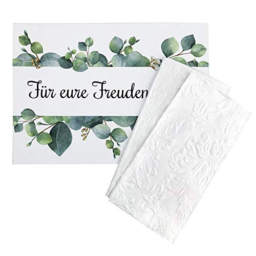 Katinga zakdoeken (Ornament Pearl) + staander voor je vreugdetranen 100