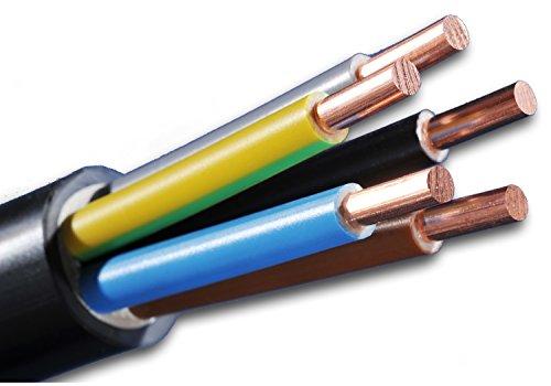 Starkstromkabel - Erdkabel - NYY-J 5x10 mm² - schwarz - Auswahl in 5 Meter Schritten - Beispiel: 10 m - 20 m - 25 m - 30 m - 35 m - 40 m - 45 m - 50 m - jeweils in einer Länge geliefert
