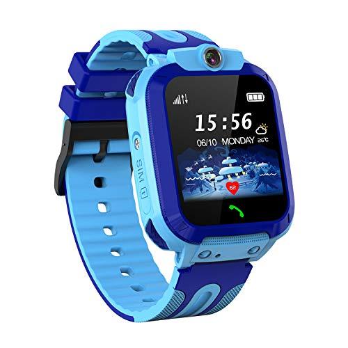 Kids Waterproof Smart Watch, SZBXD GPS Tracker Phone SOS Anti-Lost Alarm Sim Card Slot Touch Screen Voice Chat Smartwatch Birthday for Children Girls Boys (Blue)