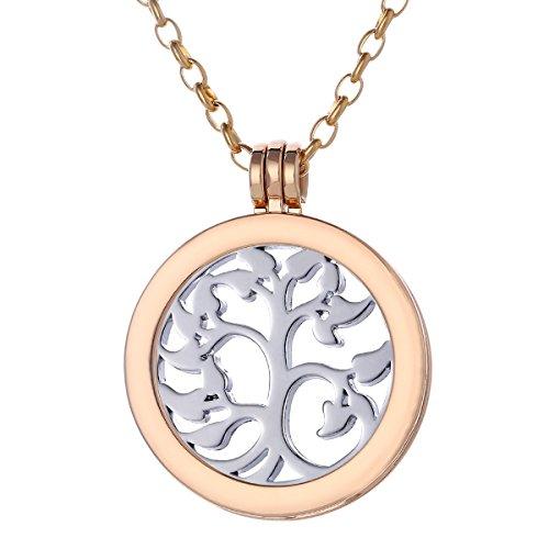 Morella Collana Donna 70 cm Acciaio Inossidabile Oro con Coins Moneta amuleto Ciondolo Rotondo 33 mm Albero della Vita Color Argento in Sacchetto di Velluto