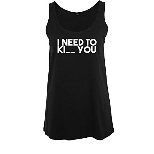 I Need Ki_ You t-Shirt lang ärmellos Damen Kurzarm Top Women lässig Sommer schwarz weiß (369-B19-Schwarz-S)