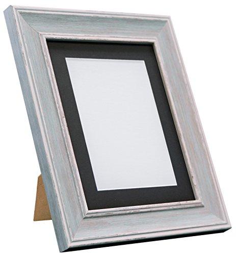 Frames By Post Scandi Vintage fotolijst Zwarte passe-partout 30 x 20 Inches Image Size A2 Distressed Blue