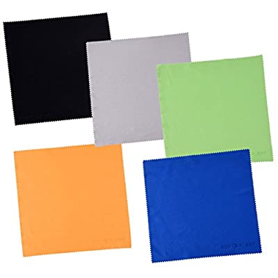 Eco-Fused Large Microfiber Cleaning Cloths - 5 Pack - 8 x 8 inch - Perfect for Wide Screen TVs, Large Computer Monitors- Also for Cleaning Glasses, Camera Lenses, Laptops and LCD Screens
