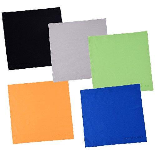 Paños de Limpieza de Microfibra Grandes Eco-Fused - Paquete de 5 – 8 x 8 pulgadas – Perfectos para Pantallas Grandes de TV y Monitores de Computadora - También para Limpiar Antojos, Lentes de Cámara, Laptops y Pantallas LCD