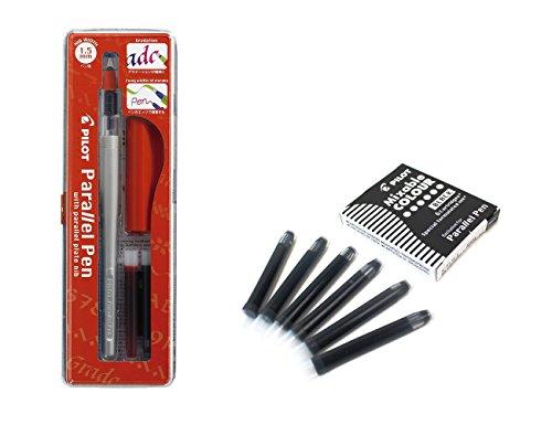 Pilot Parallel Pen Stylo de calligraphie 1,5 mm rechargeable et une boite de 6cartouches noires