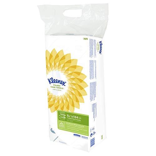 Kleenex 7979 Essuie-mains enchevêtrés Ultra, 5 paquets de 124 feuilles en papier, 2 plis, Technologie absorbante Airflex , Couleur : Blanc, 07979020