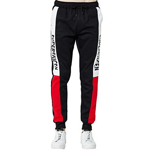 Pantalones Largos para Hombre Pantalones de chándal Sueltos Ocasionales Bermuda Jogging Bolsillos Deportivo Casual Coincidencia de Colores Costura MMUJERY