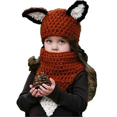 LINGZIA Conjuntos de gorro de bufanda para niños hechos a mano, gorra con forma de ardilla gorra esquelética regalo de Navidad marrón