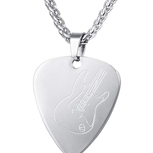 Fasion Guitar Pick Necklace Plectrum Necklace Picks Pendant Guitar Picks Chain Silver 1 PCS Adorable Quality and Durable