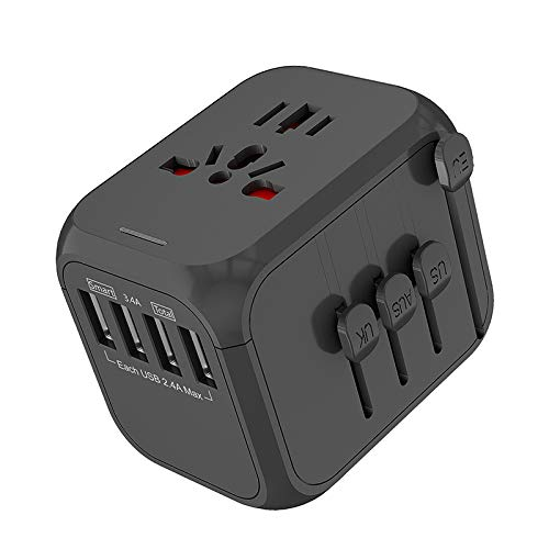 BIOBEY Cargador de viaje universal de 4 usb, 8 orificios de reinicio de fusible de seguridad de diseño internacional adaptador de pared adecuado para hasta 150 países/regiones