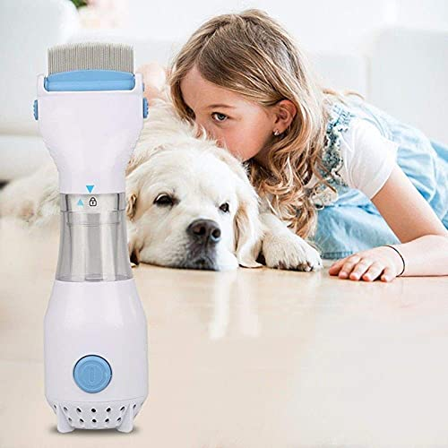 DXXWANG Pet Dog Flea Filter Remover w/ 3 Filters Electric Vacuum Head Lice Comb Brush