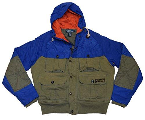 Ralph Lauren Polo Mens Water Resistant Hooded Jacket Coat Army Green Blue Medium
