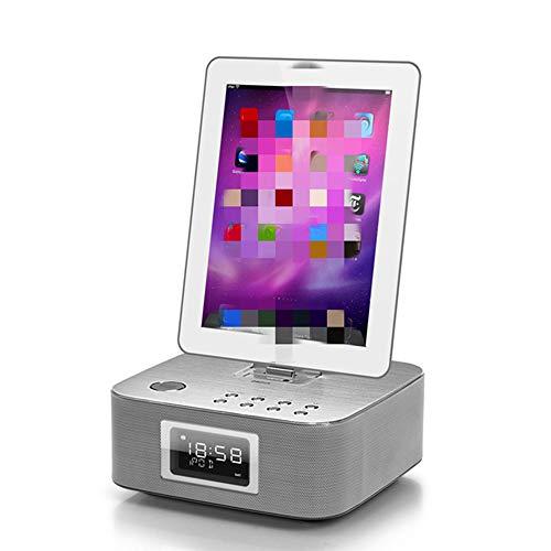 XinC Bluetooth-Lautsprecher, Ladestation am Bett, Lautsprecher, Radiowecker, Blitzschnittstelle für iPhone, Mobiltelefon, iPad und Tablet,Grau