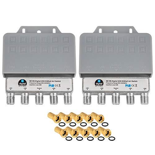 2X DiseqC Schalter Switch 4/1 mit Wetterschutzgehäuse HB-DIGITAL 4X SAT LNB 1 x Teilnehmer / Receiver für Full HDTV 3D 4K UHD + 10 x Vergoldete F-Stecker Vergoldet