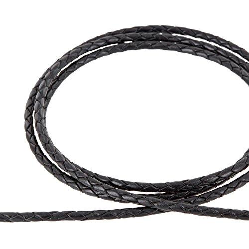 AURORIS - Lederband geflochten - Durchmesser/Farbe/Länge wählbar - Variante: Ø 4mm / schwarz / 1m