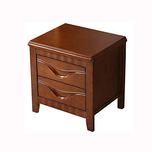 FENXIXI Mesita de noche de madera maciza con diseño de cajón doble, nórdico, simple y moderno