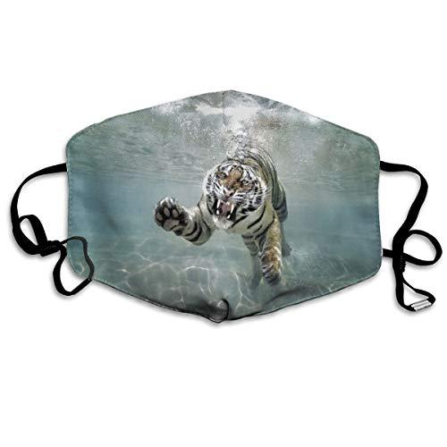 Máscara bucal de tigre blanco ajustable, antipolvo, lavable, reutiliz