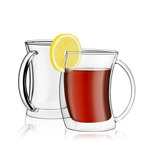 Yuansr Conjunto de Termo de Doble Capa de Taza de café de Cristal de 2 Piezas.Utilizado para Leche/té/Bebida/Vino.Adecuado para cenas y Bodas.10 oz 300 ml