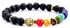 【Buddha Bracelet】Lava Rock Bead & 7 Chakra Bead & Golden Buddha. 【Essential Oil Bracelet】You can drop your favorite oil on the lava stone so that you can smell the essential oil all day long. 【Size】Inner Length is 6.7 inches and It Is Elastic.Fits Mo...