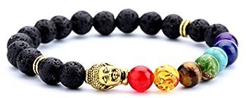 Doitory Men Women 8mm Lava Rock Chakra Beads Bracelet Elastic Natural Stone Yoga Bracelet Bangle Golden Buddha