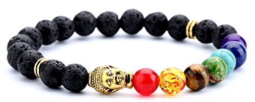 Doitory Men Women 8mm Lava Rock Chakra Beads Bracelet Elastic Natural Stone Yoga Bracelet Bangle(Golden Buddha)
