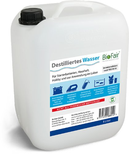 BioFair Agua desmineralizada 25 litros - de Acuerdo con VDE 0510-5 x 5 l Agua Destilada