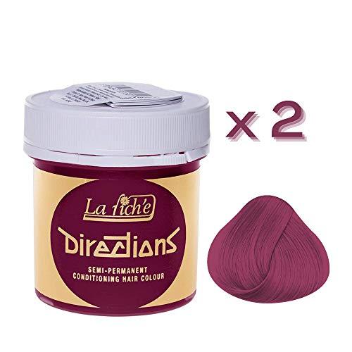 2 x La Riche Directions Semi-Permanent Hair Color 88ml Tubs - CERISE