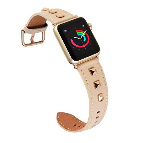Cinturino 3D in vera pelle, compatibile con Apple Watch da 38 mm, 40 mm, 42 mm, 44 mm, rivetti Rock, Punk Metal Series 4, 3, 2,1 da uomo e da donna