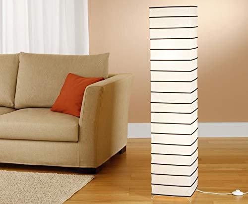 Trango Lámpara de pie de diseño 1215 L de Asia, lámpara de papel de arroz, hecha a mano, en color blanco con varillas decorativas, incluye 2 bombillas LED E14, altura: aprox. 125 cm, lámpara de salón
