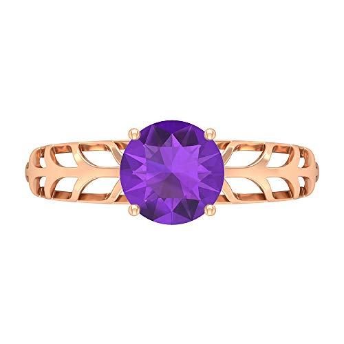 Anillo solitario de 1,3 quilates amatista, anillo de compromiso de corte redondo de 7 mm, anillo de filigrana de oro macizo, 14K Oro rosa, Size:EU 69