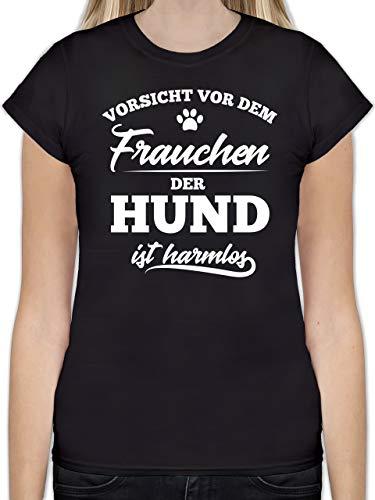 Hunde - Vorsicht vor dem Frauchen der Hund ist harmlos - M - Schwarz - b07l6883wj - L191 - Tailliertes Tshirt für Damen und Frauen T-Shirt