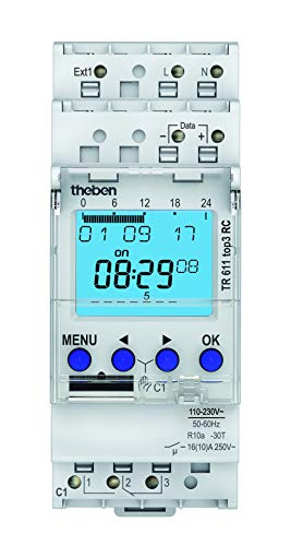 Theben 6110330 TR 611 top3 RC - digitale Zeitschaltuhr, 1 Kanal, App-Programmierung möglich, Schaltuhr