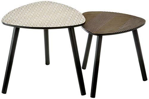 ZONS - Set di tavolini estraibili con vassoio e piedi trasparenti, in legno e grigio