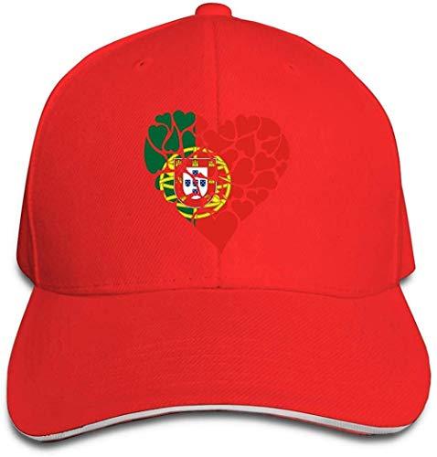 ZYZYY Berretto da baseball unisex con bandiera del Portogallo con cuore di amore Snapback cappello regolabile con visiera